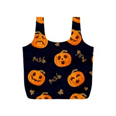 Funny Scary Black Orange Halloween Pumpkins Pattern Full Print Recycle Bag (s) by HalloweenParty