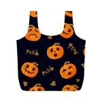 Funny Scary Black Orange Halloween Pumpkins Pattern Full Print Recycle Bag (M) Back