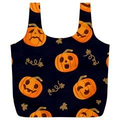 Funny Scary Black Orange Halloween Pumpkins Pattern Full Print Recycle Bag (xl)