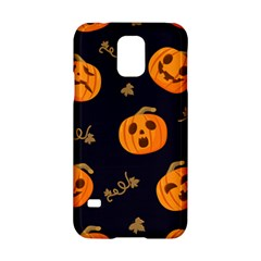 Funny Scary Black Orange Halloween Pumpkins Pattern Samsung Galaxy S5 Hardshell Case