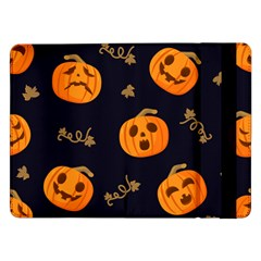 Funny Scary Black Orange Halloween Pumpkins Pattern Samsung Galaxy Tab Pro 12 2  Flip Case