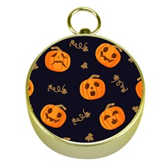 Funny Scary Black Orange Halloween Pumpkins Pattern Gold Compasses