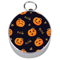 Funny Scary Black Orange Halloween Pumpkins Pattern Silver Compasses
