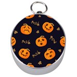 Funny Scary Black Orange Halloween Pumpkins Pattern Silver Compasses Front