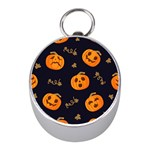Funny Scary Black Orange Halloween Pumpkins Pattern Mini Silver Compasses Front