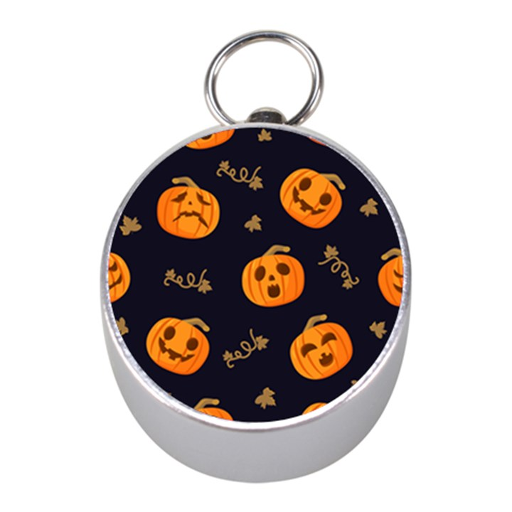 Funny Scary Black Orange Halloween Pumpkins Pattern Mini Silver Compasses