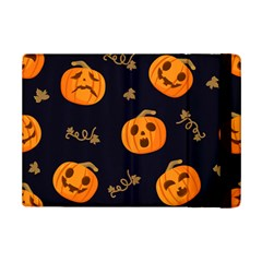 Funny Scary Black Orange Halloween Pumpkins Pattern Ipad Mini 2 Flip Cases