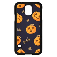 Funny Scary Black Orange Halloween Pumpkins Pattern Samsung Galaxy S5 Case (black)