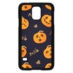Funny Scary Black Orange Halloween Pumpkins Pattern Samsung Galaxy S5 Case (Black) Front