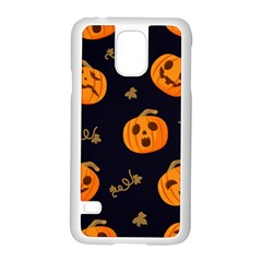 Funny Scary Black Orange Halloween Pumpkins Pattern Samsung Galaxy S5 Case (white)