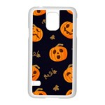 Funny Scary Black Orange Halloween Pumpkins Pattern Samsung Galaxy S5 Case (White) Front