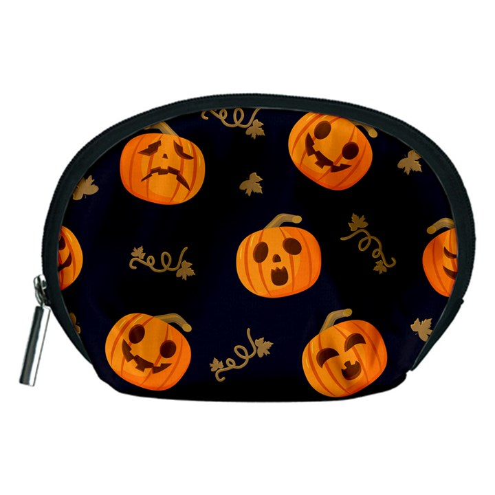 Funny Scary Black Orange Halloween Pumpkins Pattern Accessory Pouch (Medium)