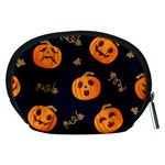 Funny Scary Black Orange Halloween Pumpkins Pattern Accessory Pouch (Medium) Back