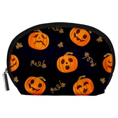 Funny Scary Black Orange Halloween Pumpkins Pattern Accessory Pouch (large) by HalloweenParty