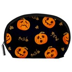 Funny Scary Black Orange Halloween Pumpkins Pattern Accessory Pouch (Large) Front