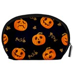Funny Scary Black Orange Halloween Pumpkins Pattern Accessory Pouch (Large) Back
