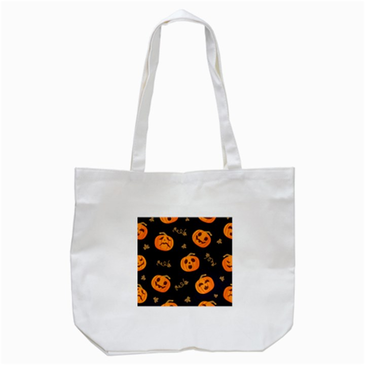 Funny Scary Black Orange Halloween Pumpkins Pattern Tote Bag (White)