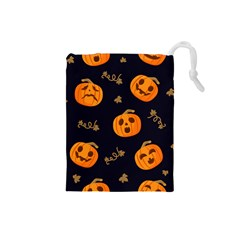 Funny Scary Black Orange Halloween Pumpkins Pattern Drawstring Pouch (small)