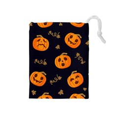 Funny Scary Black Orange Halloween Pumpkins Pattern Drawstring Pouch (medium)