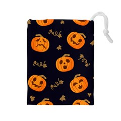 Funny Scary Black Orange Halloween Pumpkins Pattern Drawstring Pouch (large)