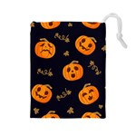 Funny Scary Black Orange Halloween Pumpkins Pattern Drawstring Pouch (Large) Front