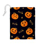 Funny Scary Black Orange Halloween Pumpkins Pattern Drawstring Pouch (Large) Back