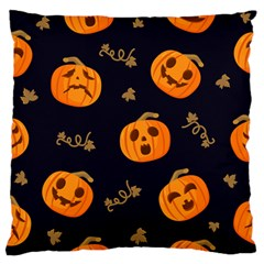Funny Scary Black Orange Halloween Pumpkins Pattern Large Flano Cushion Case (two Sides)