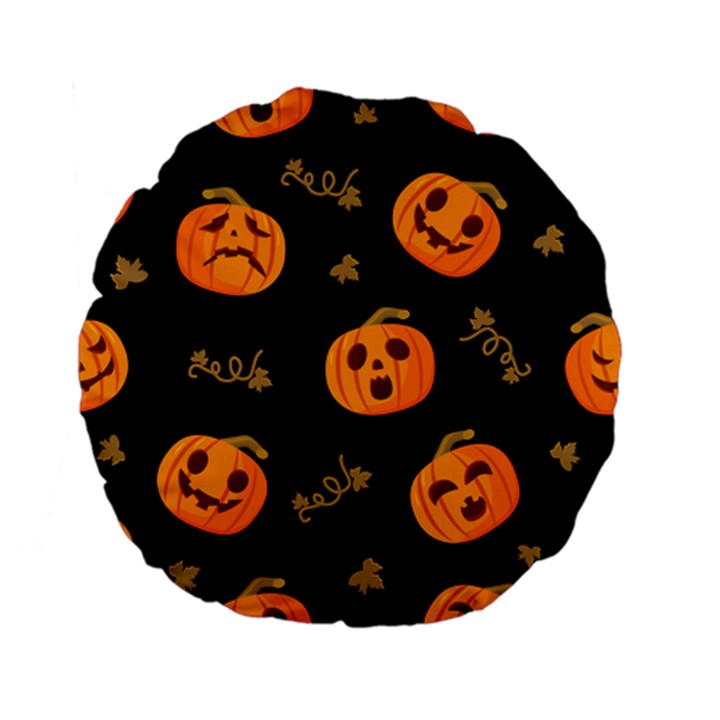 Funny Scary Black Orange Halloween Pumpkins Pattern Standard 15  Premium Flano Round Cushions
