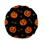 Funny Scary Black Orange Halloween Pumpkins Pattern Standard 15  Premium Flano Round Cushions Back