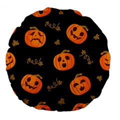 Funny Scary Black Orange Halloween Pumpkins Pattern Large 18  Premium Flano Round Cushions
