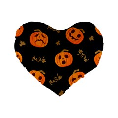 Funny Scary Black Orange Halloween Pumpkins Pattern Standard 16  Premium Flano Heart Shape Cushions