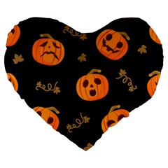 Funny Scary Black Orange Halloween Pumpkins Pattern Large 19  Premium Flano Heart Shape Cushions