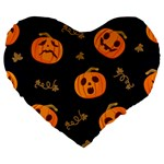 Funny Scary Black Orange Halloween Pumpkins Pattern Large 19  Premium Flano Heart Shape Cushions Front