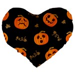 Funny Scary Black Orange Halloween Pumpkins Pattern Large 19  Premium Flano Heart Shape Cushions Back