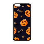 Funny Scary Black Orange Halloween Pumpkins Pattern Apple iPhone 6/6S Black Enamel Case Front