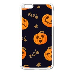 Funny Scary Black Orange Halloween Pumpkins Pattern Apple Iphone 6 Plus/6s Plus Enamel White Case