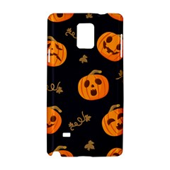 Funny Scary Black Orange Halloween Pumpkins Pattern Samsung Galaxy Note 4 Hardshell Case