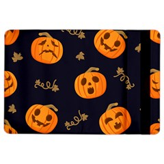 Funny Scary Black Orange Halloween Pumpkins Pattern Ipad Air 2 Flip