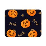 Funny Scary Black Orange Halloween Pumpkins Pattern Double Sided Flano Blanket (Mini)  35 x27 Blanket Back