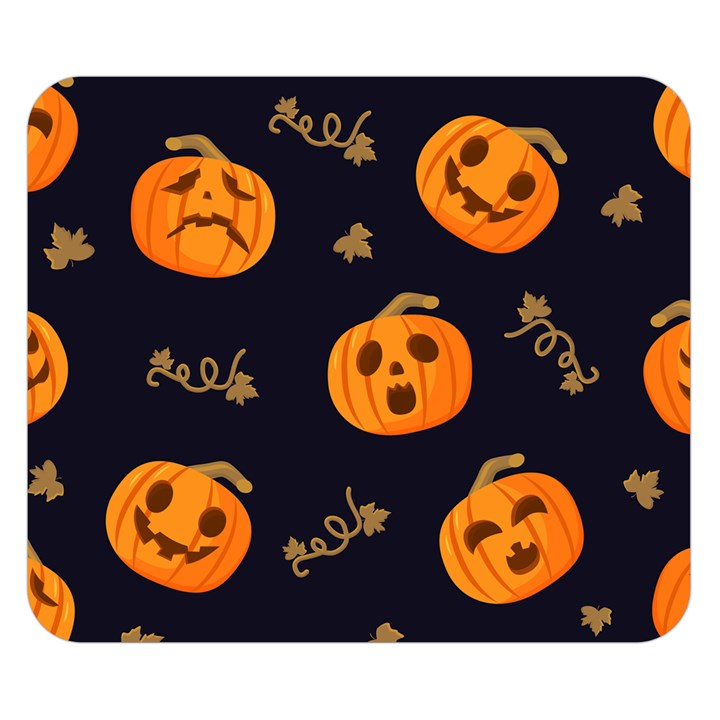 Funny Scary Black Orange Halloween Pumpkins Pattern Double Sided Flano Blanket (Small)