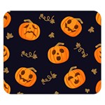 Funny Scary Black Orange Halloween Pumpkins Pattern Double Sided Flano Blanket (Small)  50 x40 Blanket Back