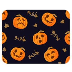 Funny Scary Black Orange Halloween Pumpkins Pattern Double Sided Flano Blanket (medium)