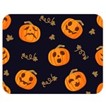 Funny Scary Black Orange Halloween Pumpkins Pattern Double Sided Flano Blanket (Medium)  60 x50  Blanket Front