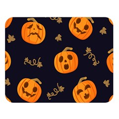 Funny Scary Black Orange Halloween Pumpkins Pattern Double Sided Flano Blanket (large)  by HalloweenParty