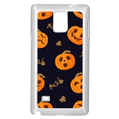 Funny Scary Black Orange Halloween Pumpkins Pattern Samsung Galaxy Note 4 Case (white)