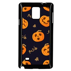 Funny Scary Black Orange Halloween Pumpkins Pattern Samsung Galaxy Note 4 Case (black)