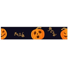 Funny Scary Black Orange Halloween Pumpkins Pattern Large Flano Scarf