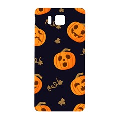 Funny Scary Black Orange Halloween Pumpkins Pattern Samsung Galaxy Alpha Hardshell Back Case