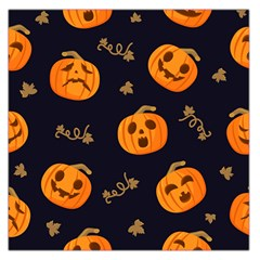 Funny Scary Black Orange Halloween Pumpkins Pattern Large Satin Scarf (square)