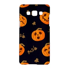 Funny Scary Black Orange Halloween Pumpkins Pattern Samsung Galaxy A5 Hardshell Case
